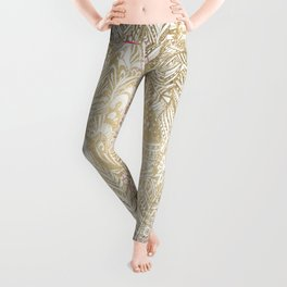 Elegant gold foil bohemian aztec feathers Leggings