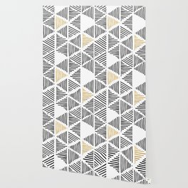 Simple Geometric Zig Zag Pattern - Black Gold White - Mix & Match with Simplicity of life Wallpaper