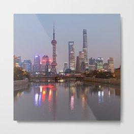 Shanghai sunset with Waibaidu Metal Print