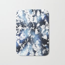 Blue sapphire and opal marbled abstract Bath Mat
