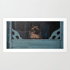 Ragdoll Cat Blue Eyes Inside (screen door with gingerbread)  Art Print