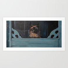 Ragdoll Cat Blue Eyes Inside (screen door with gingerbread)  Art Print