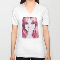 karen V-neck T-shirts featuring karen ii by Jill Schell