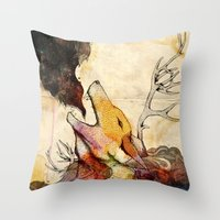 howl Throw Pillows featuring Howl by Lucy Wood - White Rabbit Says