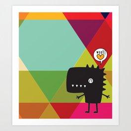 Woot! (Happy Dinosaur) Art Print