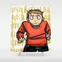 jesse pinkman Shower Curtains featuring Jesse Pinkman  by zacksellsstuff