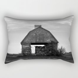 Country Corn Crib Black and White Farm Photography Rectangular Pillow