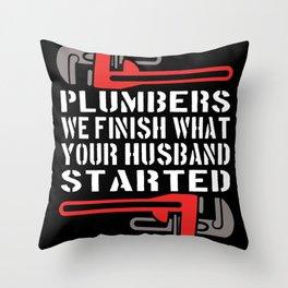 Plumber Pipelayer Plumbing Pipe Wrench Throw Pillow