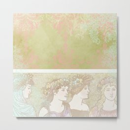 Abstract Pattern:  Shabby Damask Maidens Metal Print