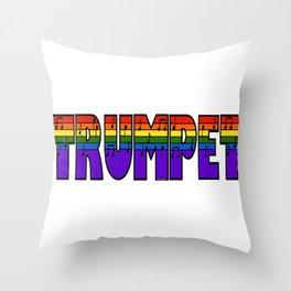 Rainbow Trumpet Throw Pillow