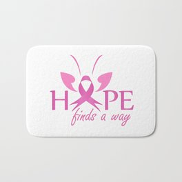Hope finds a way- Pink ribbon with butterfly to symbolize breast cancer awareness Bath Mat