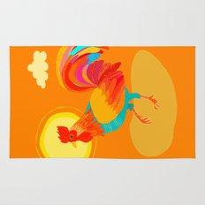 Orange Rooster Rug