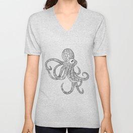 Mechanical Octopus (b&w version) Unisex V-Neck