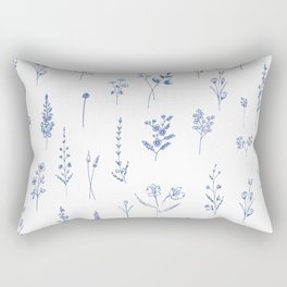 Wildflowers in blue Rectangular Pillow