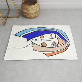 colored hair face line girl drawing Rug