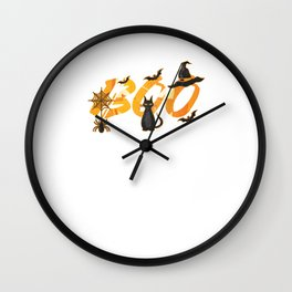 Hallows Eve Gift Boo Trick Or Treat Black Cats Witch Halloween Wall Clock