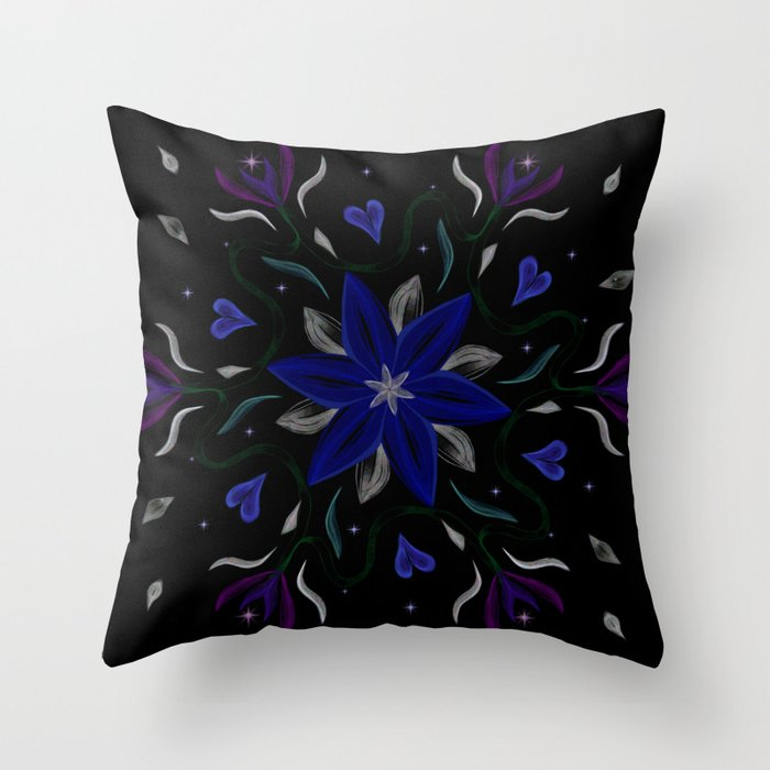 Blue Starflower Throw Pillow