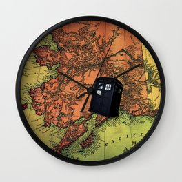 map and tardis Wall Clock