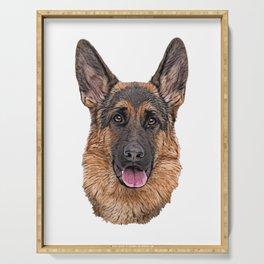 Dog German Shepherd breed primitive wolf like appearance Serving Tray