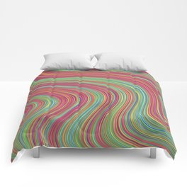 OLEANDER trails of fuschia red grass green abstract Comforters