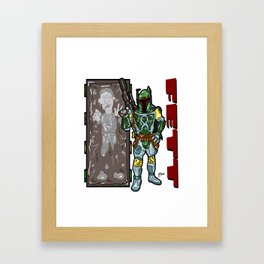 Totally FETT-UP!  The galaxy's coolest bounty hunter is HERE! Boba Fett and Han Solo from Star Wars Framed Art Print