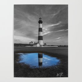 Carolina Blue Sky Puddle at Bodie Island Lighthouse Poster