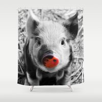 piglet Shower Curtains featuring BW splash sweet piglet by MehrFarbeimLeben