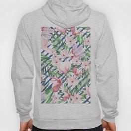 Modern blue white stripes blush pink green watercolor floral Hoody