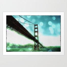 Green Bokeh Golden Gate Bridge in San Francisco Art Print