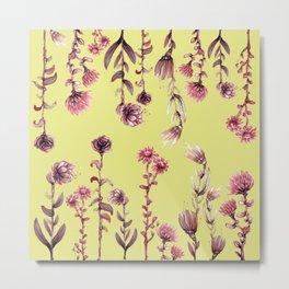 yellow pink flowers Metal Print