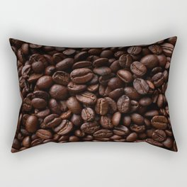 Dark roasted coffee beans arranged as flat background Rectangular Pillow
