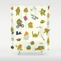 teenage mutant ninja turtles Shower Curtains featuring Teenage Mutant Ninja Turtles by catalinabu
