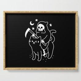 Death Rides A Black Cat Serving Tray