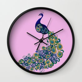 Peacock art Wall Clock