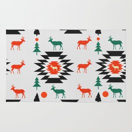 Deer in red and green Rug