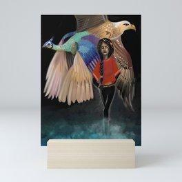 Borrowed Wings - Peacock - Eagle - Beautiful Girl - Indian Mini Art Print