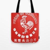 sriracha Tote Bags featuring Sriracha  by www.bubthezombie.com