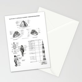 Apollo 11 Saturn V Command Module Blueprint in High Resolution (white) Stationery Cards