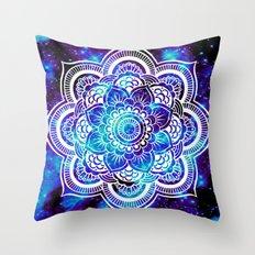 Mandala : Bright Violet & Teal Galaxy Throw Pillow