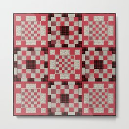Brown and red patchwork quilt background with geometric patterns Metal Print