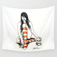 goth Wall Tapestries featuring goth girl vanitas by Beth Jorgensen