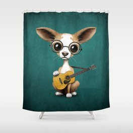 Chihuahua Puppy Dog Playing Old Acoustic Guitar Teal Shower Curtain
