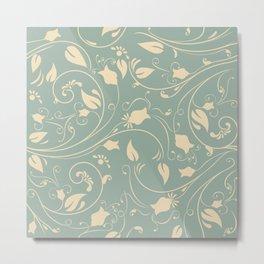 Vintage flower vine pattern Metal Print