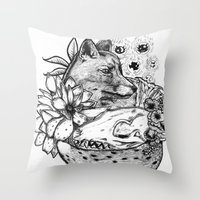 kitsune Throw Pillows featuring Kitsune by Owen Swerts