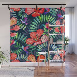 Dark tropical red flowers and hummingbirds Wall Mural