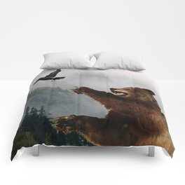 The Trickster - Raven & Grizzly Bear Art Print Comforters