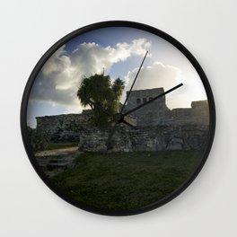 Sunrise Over Mayan Ruins Wall Clock