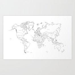 Paint your World Map Art Print