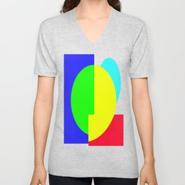 GETTING IN SHAPE - FUN SHAPED GEOMETRIC MULTI COLOURED DESIGN Unisex V-Neck