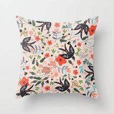 Around The Garden on Pink Throw Pillow